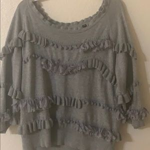 Anthropologie gray short sleeve sweater
